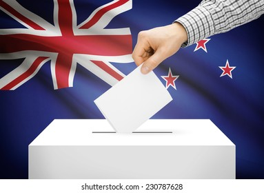Voting concept - Ballot box with national flag on background - New Zealand