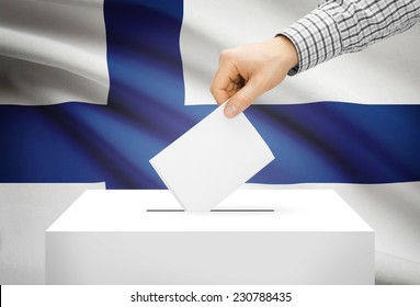Voting concept - Ballot box with national flag on background - Finland