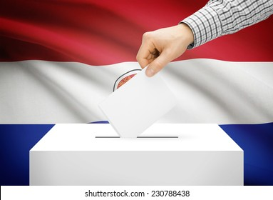 Voting concept - Ballot box with national flag on background - Paraguay