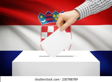 Voting concept - Ballot box with national flag on background - Croatia