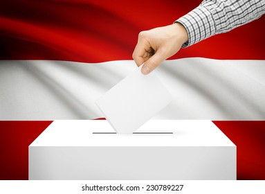 Voting concept - Ballot box with national flag on background - Austria
