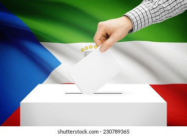 Voting concept - Ballot box with national flag on background - Equatorial Guinea