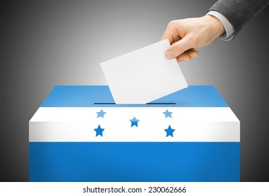 Voting concept - Ballot box painted into national flag colors - Honduras
