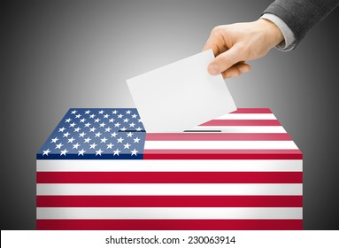 Voting concept - Ballot box painted into national flag colors - United States