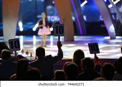 Voting contest of young singers, silhouettes jury