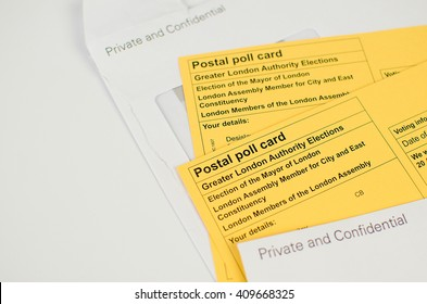 voting elections postal poll card London UK ballot papers