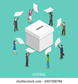 Voting flat isometric concept. People are putting their ballot papers into the big paper voting box.