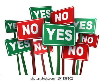 Voting yes or no with opposing and conflicting green and red campaign signs representing politics and important political issues that divide social opinion resulting in protest and demonstrations.