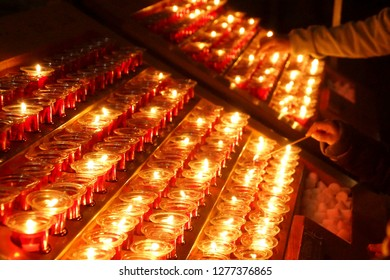 Votive candles in the Cathedral of Notre Dame, Paris, France
