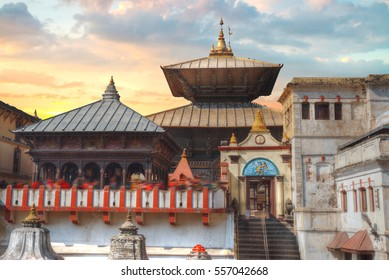 Votive temples and shrines in a row at Pashupatinath Temple, Kathmandu, Nepal.