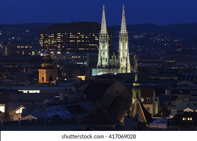 Votivkirche in Vienna at night. Vienna, Austria.