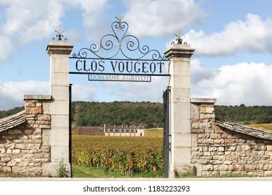 Vougeot, France - June 10, 2017: Castle of Clos de Vougeot in Burgundy, France