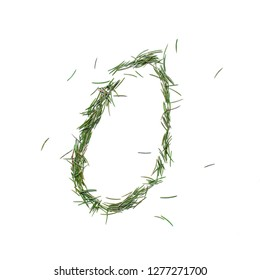 Vowel O english alphabet. Christmas hand made. Font made of fir tree needles isolated on white