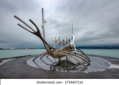 Voyager of the Sun statue in Reykjavik, Iceland, taken in January 2020