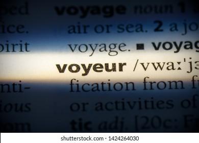 voyeur word in a dictionary. voyeur concept, definition.