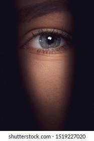 voyeurism spying  concept  eye macro in the shadows