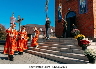 Voyutyn, Volyn / Ukraine - October 14 2008: Unidentified children participate in procession celebration Protection of Our Most Holy Lady Theotokos and Ever-Virgin Mary