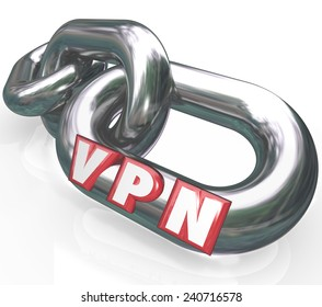 VPN letters on chain links in abbreviation or acronym meaning Virtual Personal Network to illustrate a secure, private connection for sharing data
