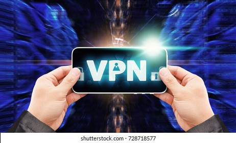 VPN Network security computer concept : Programmer control VPN icon from smart phone for protection in data center , abstract technology background