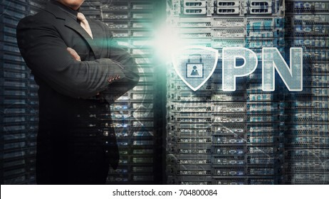 VPN Network security computer in data center and programmer take a good care for service
