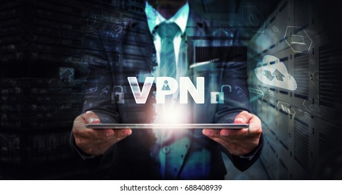 VPN Protected for network computer social website security service