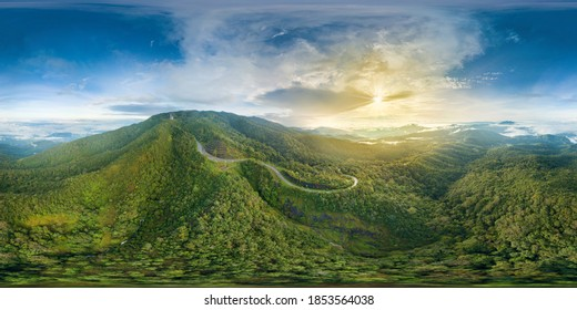 VR 360 Inthanon Highest Mountain of Thailand Landmark Nature Travel Places of Chiangmai  (Full Virtual Reality 360 Degree Panorama Aerial View Seamless)