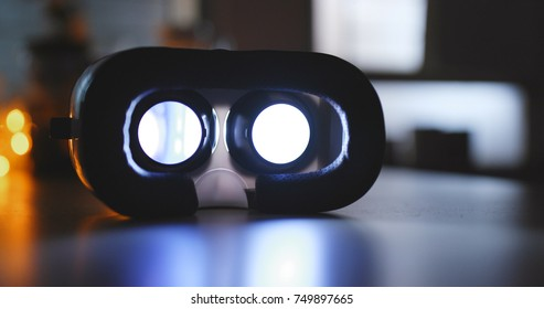 VR device playing movie inside at home
