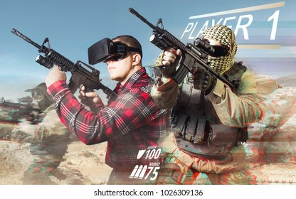 Vr gamer with soldier. Vr gamer playing war game and aiming automatic rifle with fully equipped soldiers on desert background.