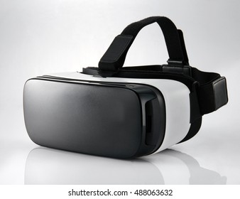 VR virtual reality glasses  half turned isolated on white background.