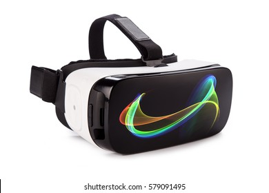 VR virtual reality glasses isolated on white background.