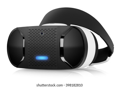 VR virtual reality headset half turned front view isolated on white background. VR is an immersive experience in which your head movements are tracked in 3d world, VR is the future of gaming.