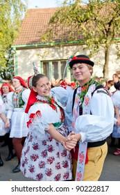 VRACOV - OCTOBER 15: People in folk costume dance Verbunk on The biggest folk feast in Czech Republic, Oct 15, 2011 in Vracov, Czech Republic. Feast Vracov