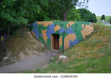 VRANOV NAD DYJÍ, CZECH REPUBLIC - JUNE 16, 2017: Light fortification pattern 37 - Czechoslovakia, french type fortification, reconstructed to state during the 1938 crisis.