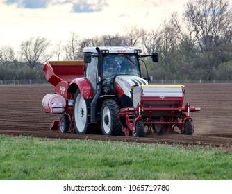 Vranovice, Czech Republic, April 10, 2018, Tractor Steyr on the field