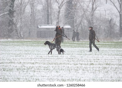 Vranovice, Czech Republic, December 15, 2018 - Group of hunters with dog and shotguns