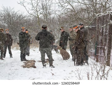 Vranovice, Czech Republic, December 15, 2018 - Group of hunters with dogs and shotguns