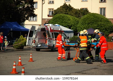 VRATIMOV-SEPTEMBER 7: rescue and emergency services open day. Units at car crash training on September 7, 2013 in VRATIMOV, Czech republic.