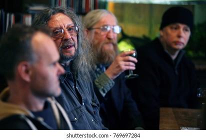 Vratislav Brabenec, Jiri Kabes and Joe Karafiat, members of Plastic People Of The Universe, press conference, new CD Maska za maskou in Unijazz club, Praha, Czech Republic, January 2010