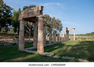 Vravrona, Attica, Greece / June 2018: The ancient temple of goddess Artemis