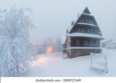 Suchý vrch is the highest mountain of the Bukovohorské Mountains, the eastern part of the Orlické Mountains, Moravia and Bohemia Czech Republic Kramarova hut on the top Most popular area for skiing - Shutterstock ID 1898727649
