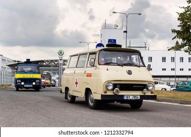 VRCHLABI, CZECH REPUBLIC - AUGUST 25 2018: Vintage car Skoda 1203 ambulance oldsmobile veteran leaving Vrchlabi Skoda plant on August 25, 2018 in Vrchlabi, Czech Republic.