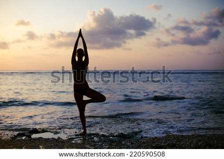 vrikshasana tree pose yogawoman stock photo edit now