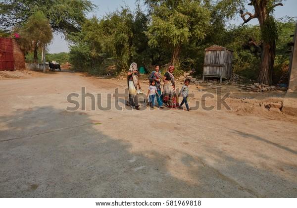 Vrindavan, 22 October 2016: People on the street, in Vrindavan, UP