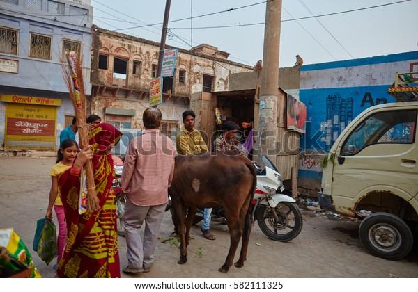 Vrindavan, 22 October 2016: People on the street, daily life scene, in Vrindavan, UP