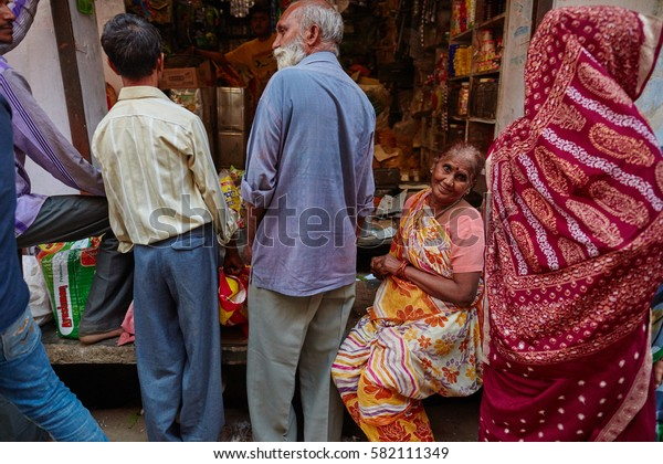 Vrindavan, 22 October 2016: People on the street, daily life scene, in Vrindavan, UP