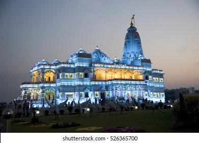 Vrindavan / India 6 March 2016 at Night  Prem Mandir ( love temple ) divine monument, at  Vrindavan  Mathura  Uttar Pradesh  India