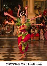 Vrindavan, india, february 12 2019, classical dance performance
