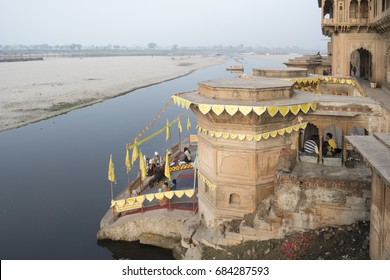 Vrindavan, India - January 24, 2015: Pilgrim boats on Yamuna river in Vrindavan.