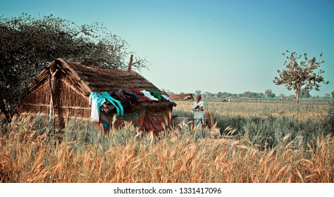 Vrindavan, India - Jul 2018: A middle aged indian farmer standing near him home in field.