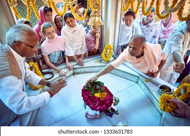 Vrindavan, India - Jul 2018: A scarifice or deeksha yajna is being performed by devotees at a Krishna temple